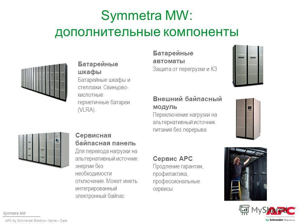 APC by Schneider Electric– Name – Date Symmetra MW: дополнительные компоненты Батарейные шкафы Батарейные шкафы и стеллажи. Свинцово- кислотные герметичные батареи (VLRA). Батарейные автоматы Защита от перегрузки и КЗ Сервисная байпасная панель Для п
