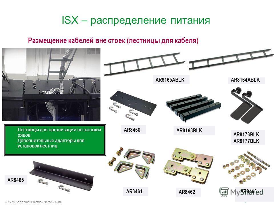APC by Schneider Electric– Name – Date AR8164ABLK Лестницы для организации нескольких рядов Дополнительные адаптеры для установок лестниц Размещение кабелей вне стоек (лестницы для кабеля) AR8165ABLK AR8460 AR8168BLK AR8176BLK AR8177BLK AR8461 AR8462