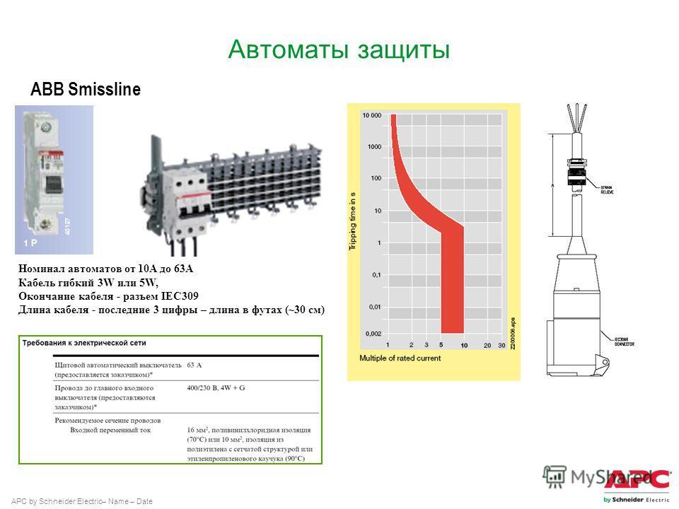 APC by Schneider Electric– Name – Date Автоматы защиты ABB Smissline Номинал автоматов от 10А до 63А Кабель гибкий 3W или 5W, Окончание кабеля - разъем IEC309 Длина кабеля - последние 3 цифры – длина в футах (~30 см)