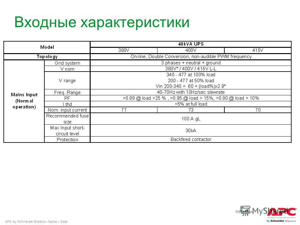 APC by Schneider Electric– Name – Date Входные характеристики Preliminary