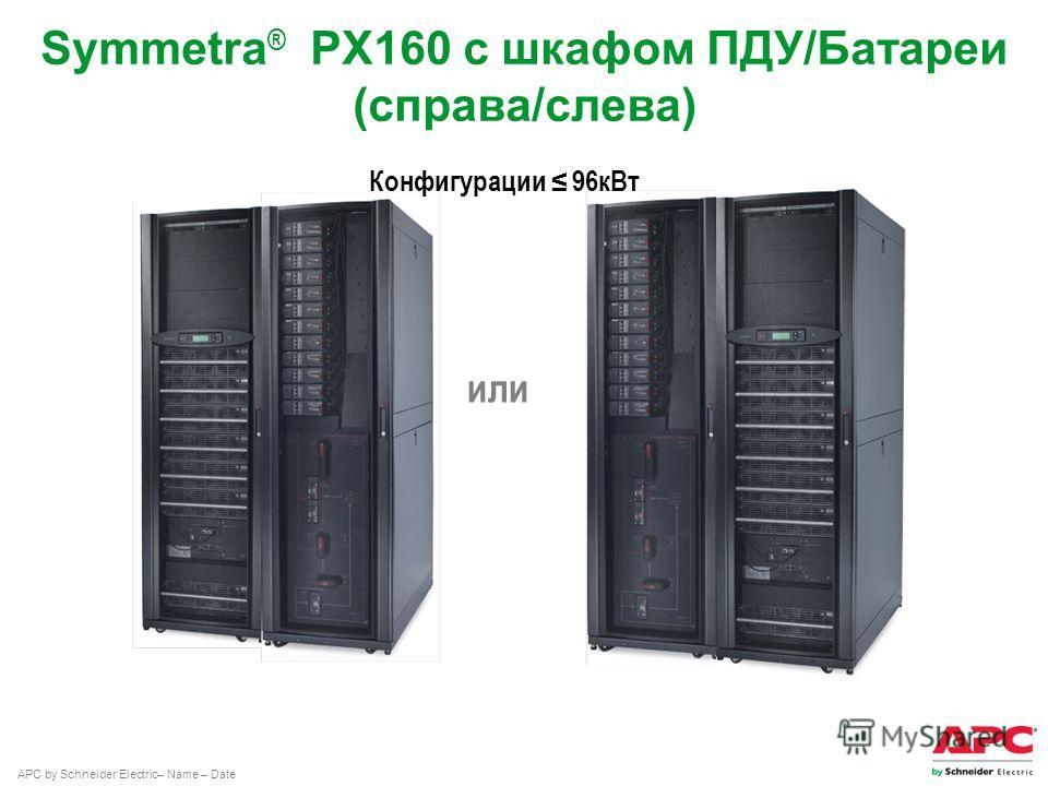 APC by Schneider Electric– Name – Date Symmetra ® PX160 с шкафом ПДУ/Батареи (справа/слева) или Конфигурации 96 к Вт
