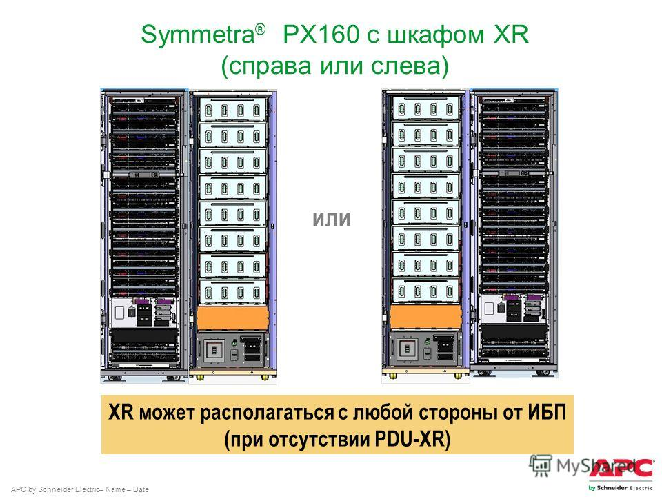APC by Schneider Electric– Name – Date Symmetra ® PX160 с шкафом XR (справа или слева) или XR может располагаться с любой стороны от ИБП (при отсутствии PDU-XR)