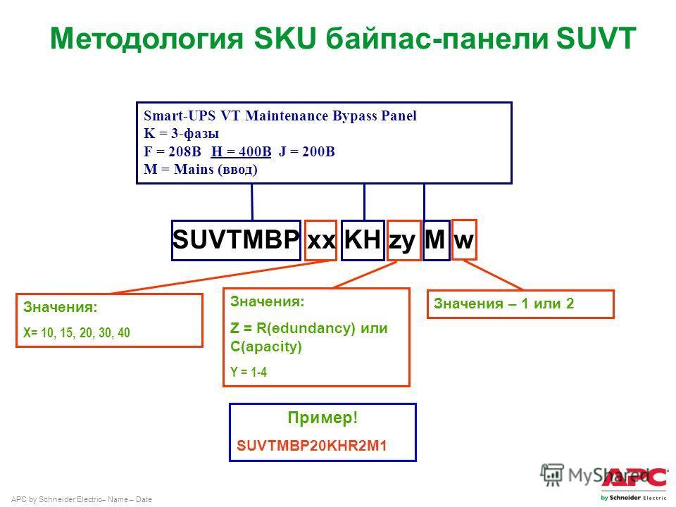 APC by Schneider Electric– Name – Date Значения: X= 10, 15, 20, 30, 40 Smart-UPS VT Maintenance Bypass Panel K = 3-фазы F = 208ВH = 400ВJ = 200В M = Mains (ввод) SUVTMBP xx KH zy M w Методология SKU байпас-панели SUVT Значения: Z = R(edundancy) или С