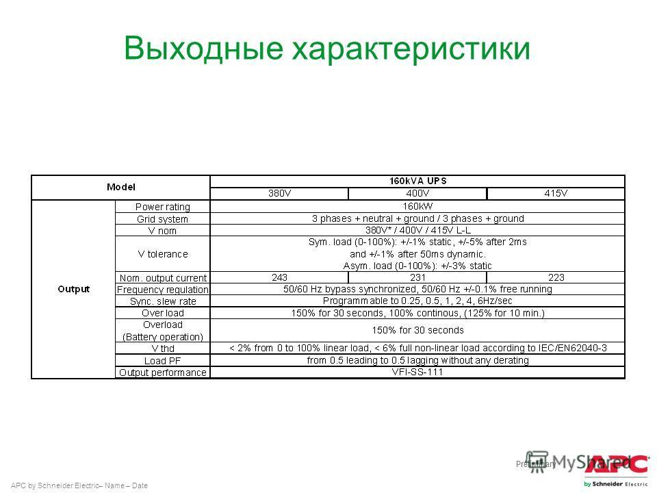 APC by Schneider Electric– Name – Date Выходные характеристики Preliminary