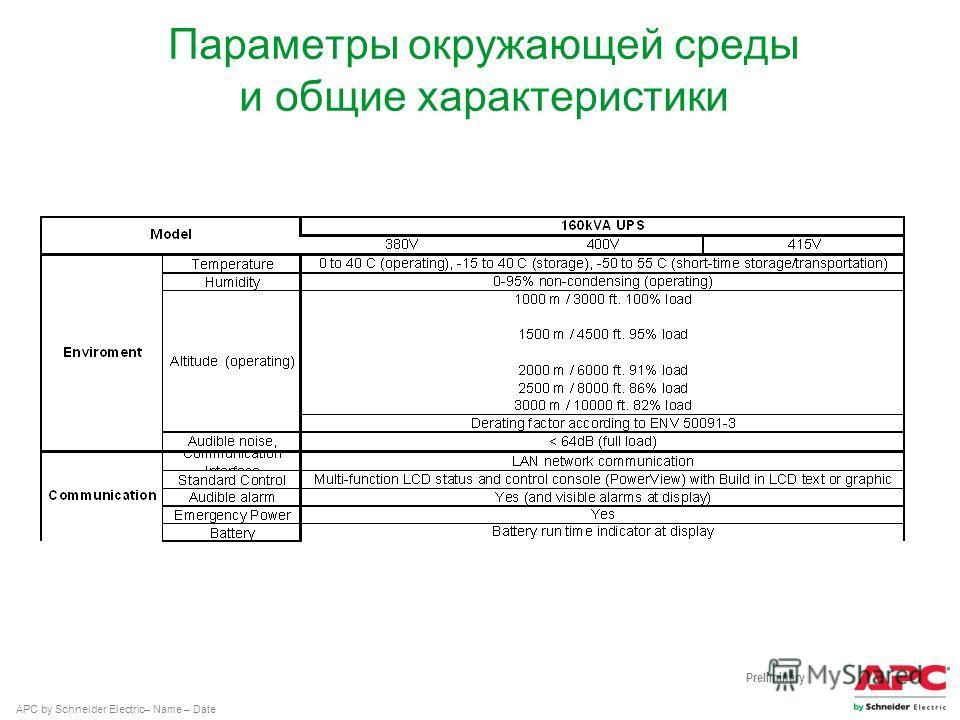 APC by Schneider Electric– Name – Date Параметры окружающей среды и общие характеристики Preliminary