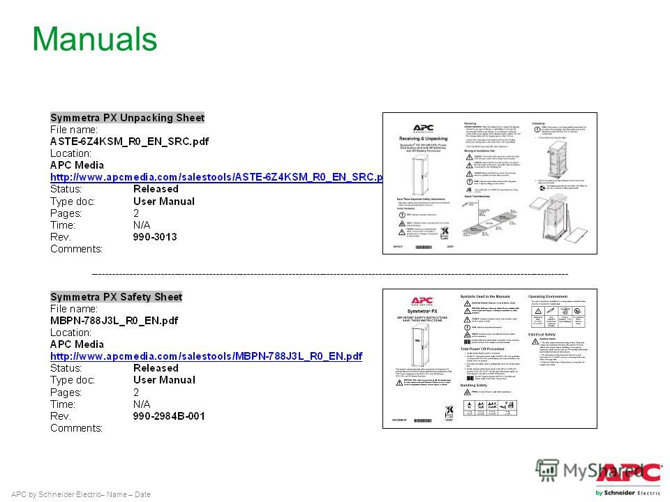APC by Schneider Electric– Name – Date Manuals
