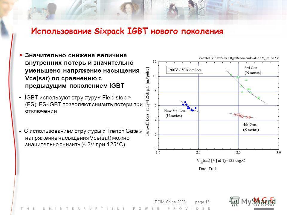 PCIM China 2006page 13 w Значительно снижена величина внутренних потерь и значительно уменьшено напряжение насыщения Vce(sat) по сравнению с предыдущим поколением IGBT - IGBT используют структуру « Field stop » (FS): FS-IGBT позволяют снизить потери