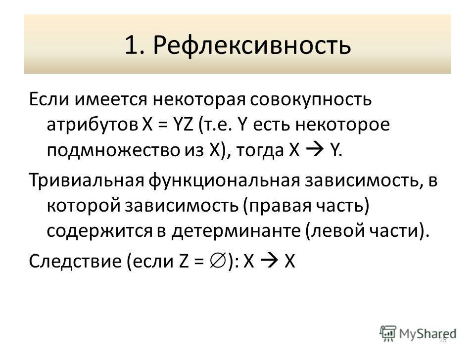 1. Рефлексивность Если имеется некоторая совокупность атрибутов X = YZ (т.е. Y есть некоторое подмножество из X), тогда X Y. Тривиальная функциональная зависимость, в которой зависимость (правая часть) содержится в детерминанте (левой части). Следств