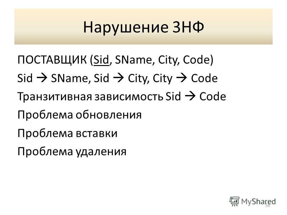 Нарушение 3НФ ПОСТАВЩИК (Sid, SName, City, Code) Sid SName, Sid City, City Code Транзитивная зависимость Sid Code Проблема обновления Проблема вставки Проблема удаления 58