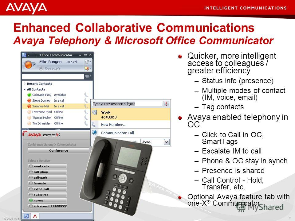 11 © 2009 Avaya Inc. All rights reserved. Enhanced Collaborative Communications Avaya Telephony & Microsoft Office Communicator Quicker, more intelligent access to colleagues / greater efficiency –Status info (presence) –Multiple modes of contact (IM