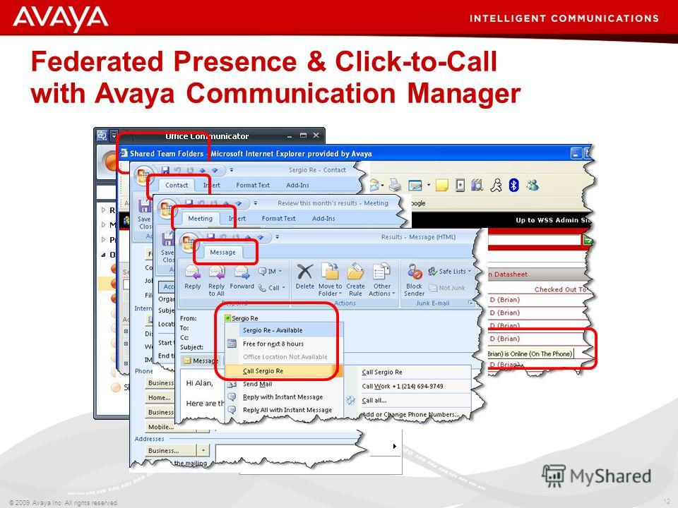 12 © 2009 Avaya Inc. All rights reserved. Federated Presence & Click-to-Call with Avaya Communication Manager