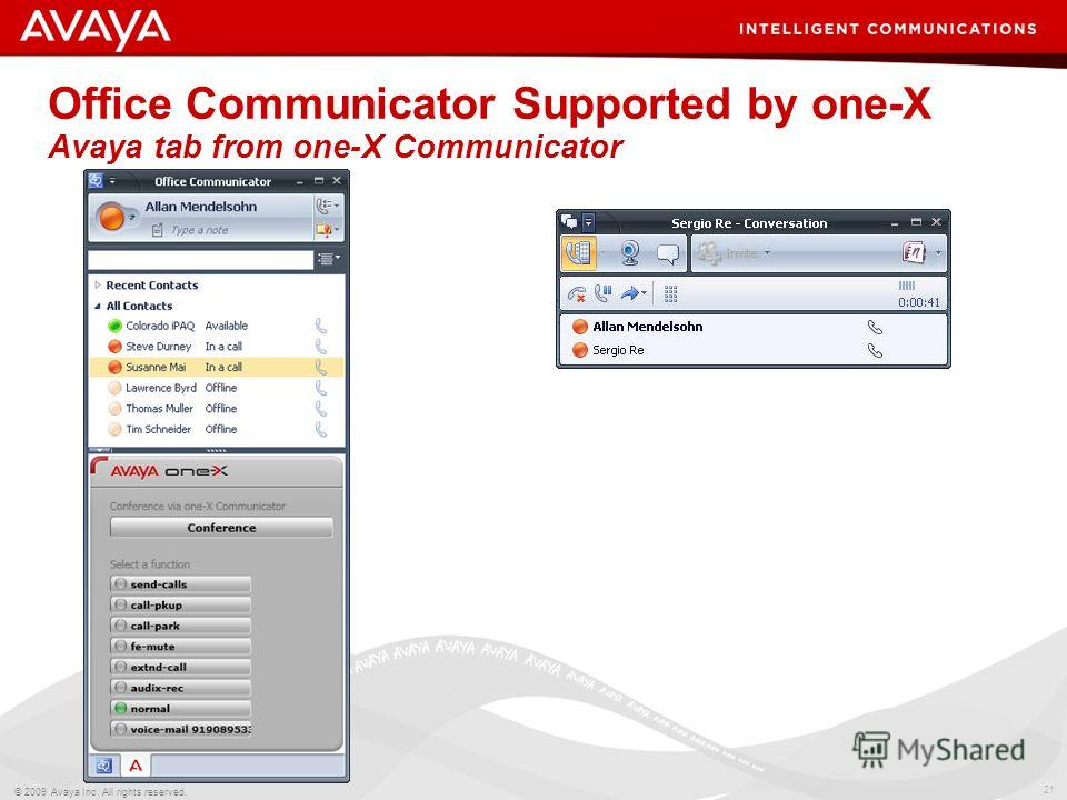 21 © 2009 Avaya Inc. All rights reserved. Office Communicator Supported by one-X Avaya tab from one-X Communicator