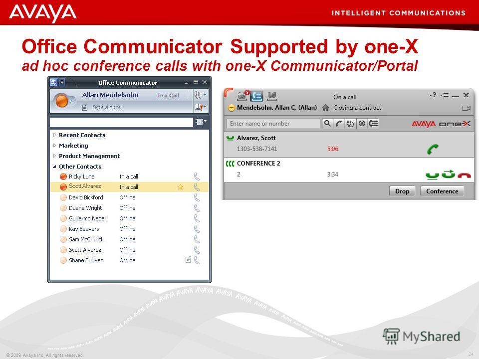 24 © 2009 Avaya Inc. All rights reserved. Office Communicator Supported by one-X ad hoc conference calls with one-X Communicator/Portal Scott Alvarez