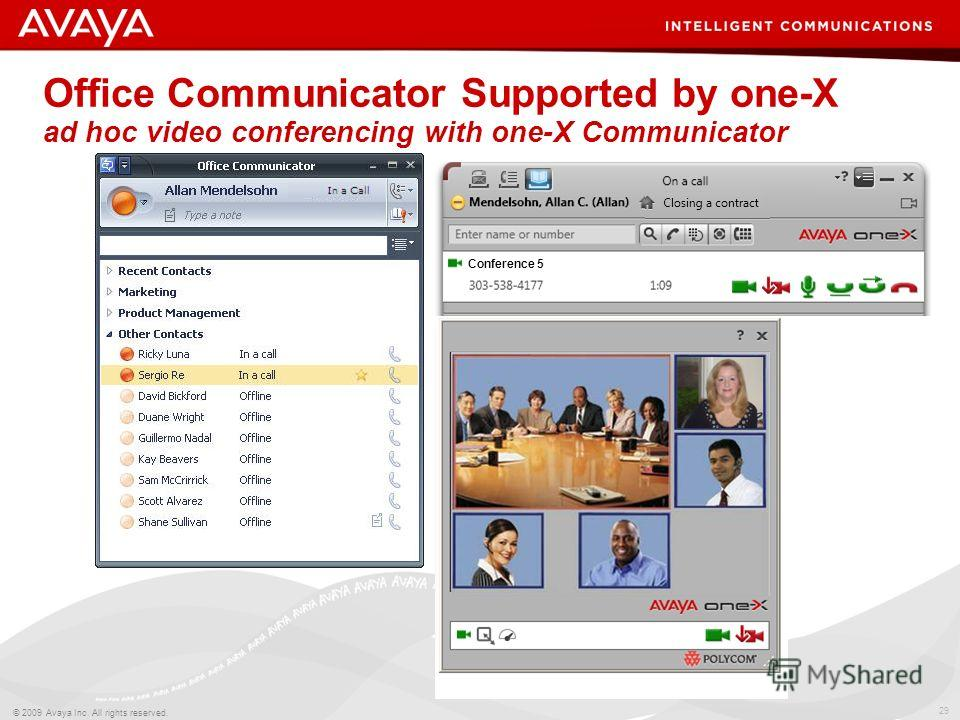 29 © 2009 Avaya Inc. All rights reserved. Office Communicator Supported by one-X ad hoc video conferencing with one-X Communicator Conference 5