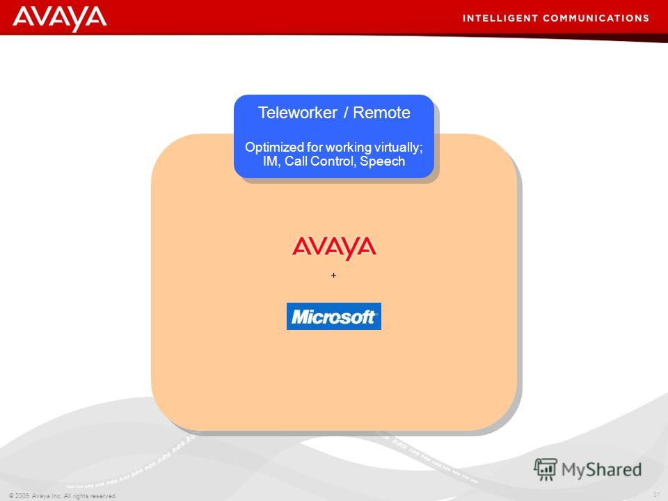 31 © 2009 Avaya Inc. All rights reserved. Teleworker / Remote Optimized for working virtually; IM, Call Control, Speech Teleworker / Remote Optimized for working virtually; IM, Call Control, Speech +