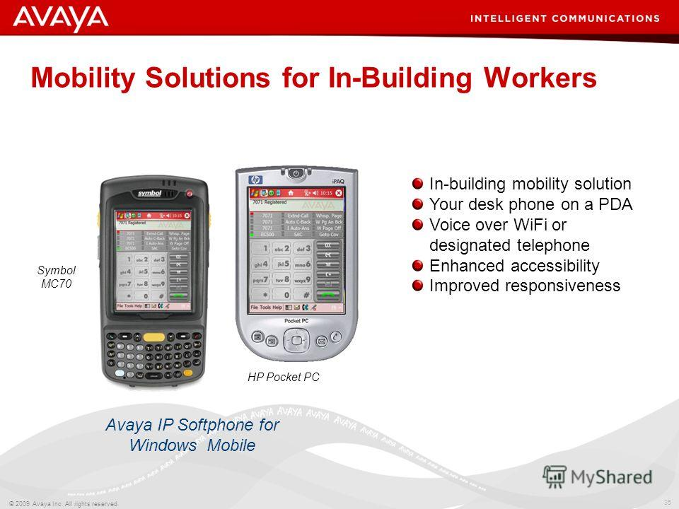 35 © 2009 Avaya Inc. All rights reserved. Mobility Solutions for In-Building Workers Avaya IP Softphone for Windows Mobile In-building mobility solution Your desk phone on a PDA Voice over WiFi or designated telephone Enhanced accessibility Improved