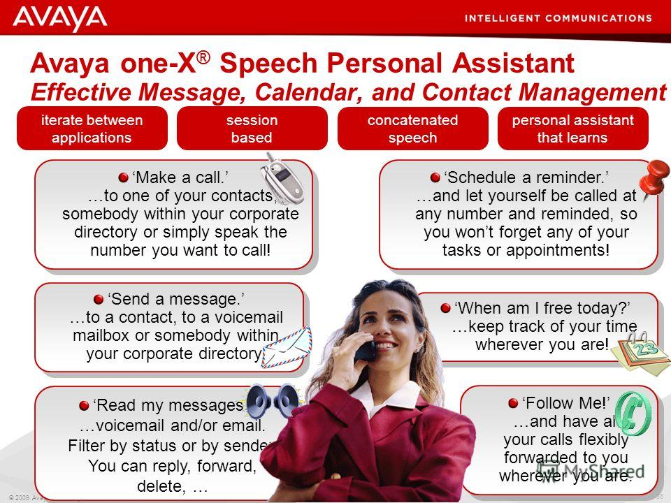 36 © 2009 Avaya Inc. All rights reserved. Avaya one-X ® Speech Personal Assistant Effective Message, Calendar, and Contact Management Follow Me! …and have all your calls flexibly forwarded to you wherever you are. When am I free today? …keep track of