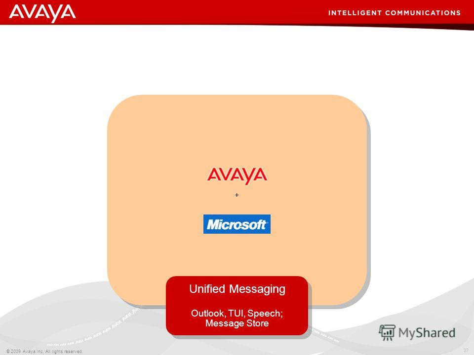 37 © 2009 Avaya Inc. All rights reserved. Unified Messaging Outlook, TUI, Speech; Message Store Unified Messaging Outlook, TUI, Speech; Message Store +