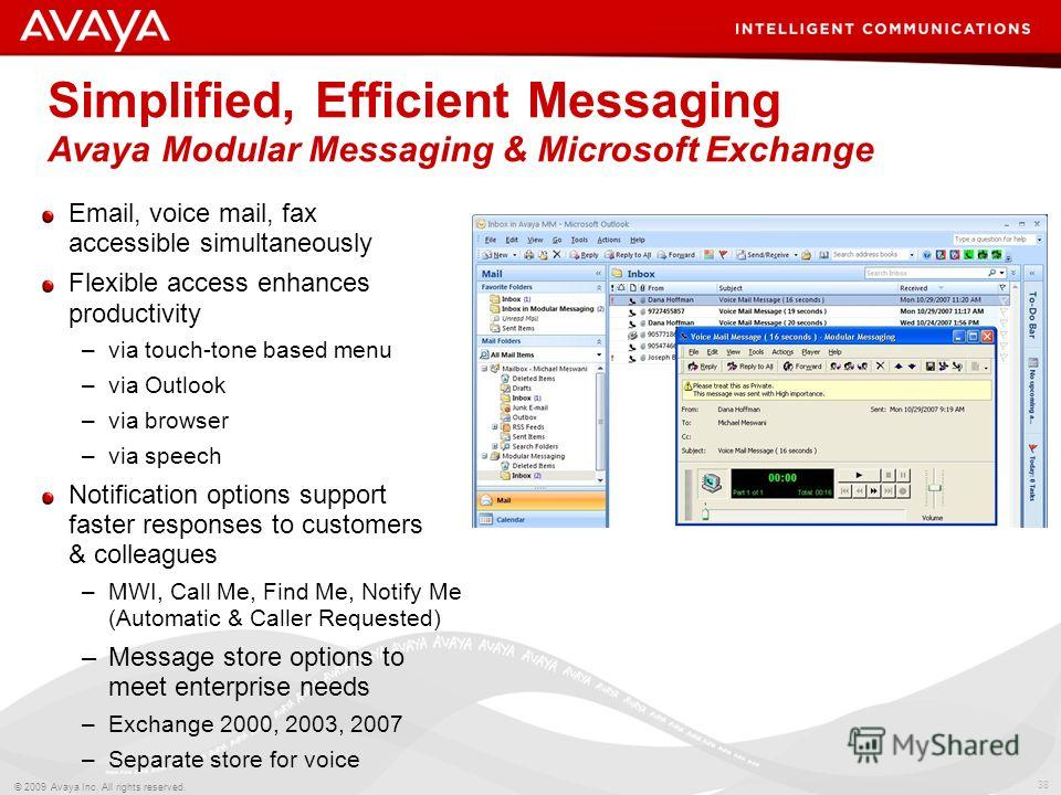 38 © 2009 Avaya Inc. All rights reserved. Simplified, Efficient Messaging Avaya Modular Messaging & Microsoft Exchange Email, voice mail, fax accessible simultaneously Flexible access enhances productivity –via touch-tone based menu –via Outlook –via