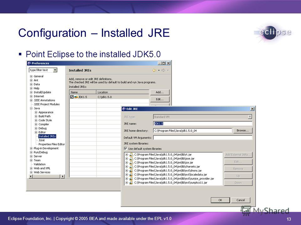 Eclipse Foundation, Inc. | Copyright © 2005 BEA and made available under the EPL v1.0 13 Configuration – Installed JRE Point Eclipse to the installed JDK5.0