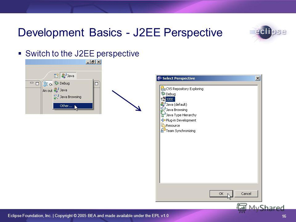 Eclipse Foundation, Inc. | Copyright © 2005 BEA and made available under the EPL v1.0 16 Development Basics - J2EE Perspective Switch to the J2EE perspective
