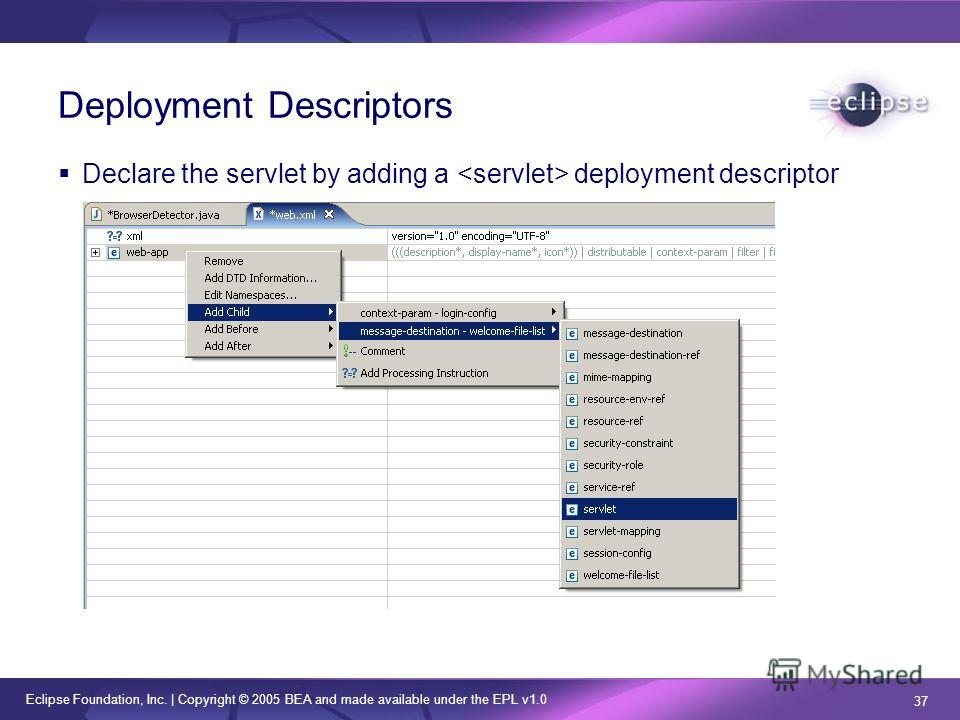 Eclipse Foundation, Inc. | Copyright © 2005 BEA and made available under the EPL v1.0 37 Deployment Descriptors Declare the servlet by adding a deployment descriptor