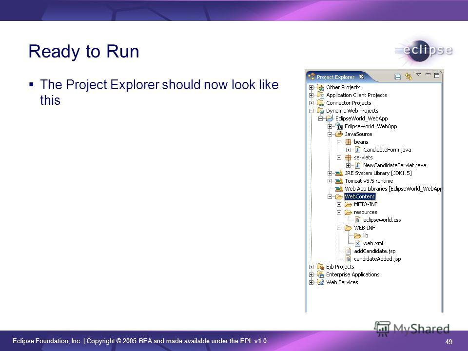 Eclipse Foundation, Inc. | Copyright © 2005 BEA and made available under the EPL v1.0 49 Ready to Run The Project Explorer should now look like this