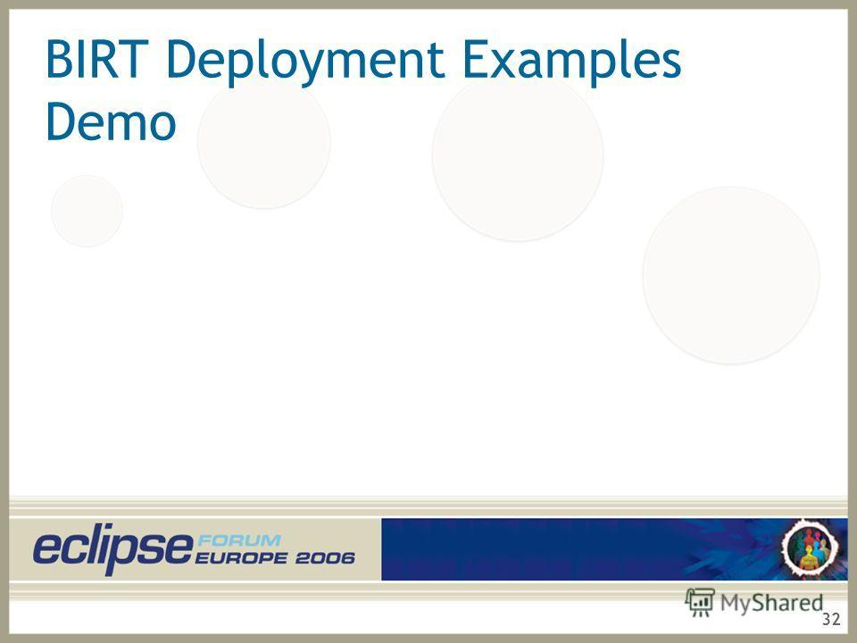32 BIRT Deployment Examples Demo
