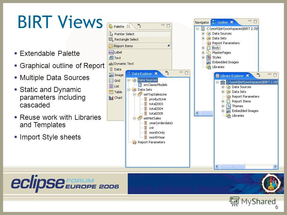 6 BIRT Views Extendable Palette Graphical outline of Report Multiple Data Sources Static and Dynamic parameters including cascaded Reuse work with Libraries and Templates Import Style sheets
