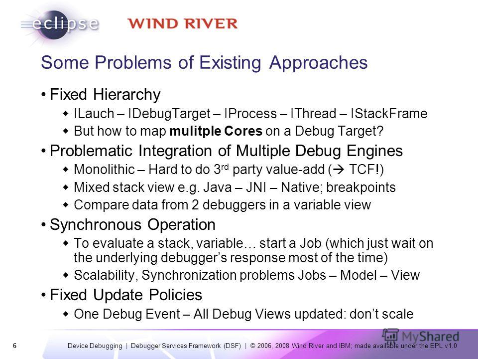 6 Device Debugging | Debugger Services Framework (DSF) | © 2006, 2008 Wind River and IBM; made available under the EPL v1.0 Some Problems of Existing Approaches Fixed Hierarchy ILauch – IDebugTarget – IProcess – IThread – IStackFrame But how to map m