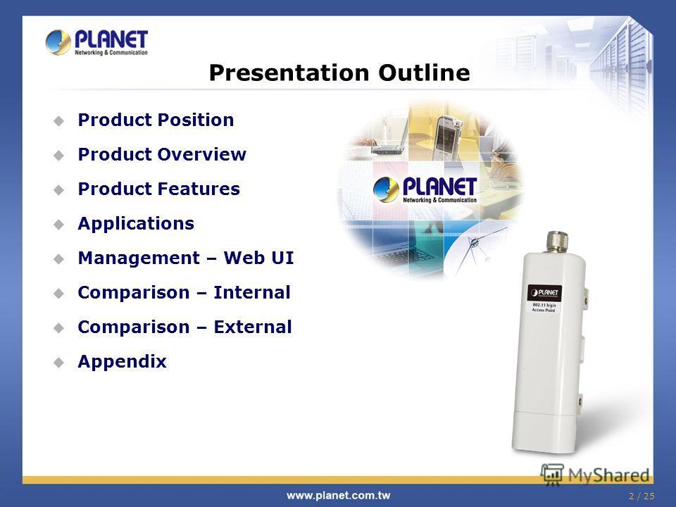 2 / 25 Product Position Product Overview Product Features Applications Management – Web UI Comparison – Internal Comparison – External Appendix Presentation Outline