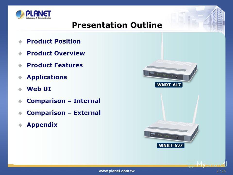 2 / 25 Product Position Product Overview Product Features Applications Web UI Comparison – Internal Comparison – External Appendix Presentation Outline WNRT-617 WNRT-627