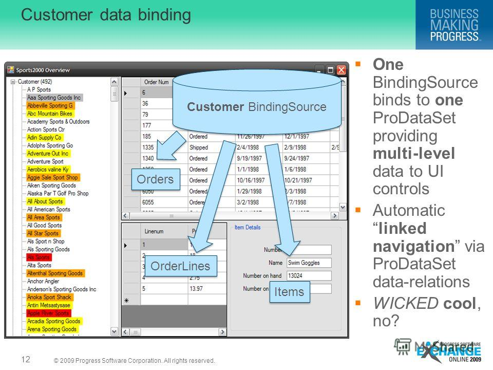 © 2009 Progress Software Corporation. All rights reserved. Customer data binding One BindingSource binds to one ProDataSet providing multi-level data to UI controls Automaticlinked navigation via ProDataSet data-relations WICKED cool, no? Customer Bi