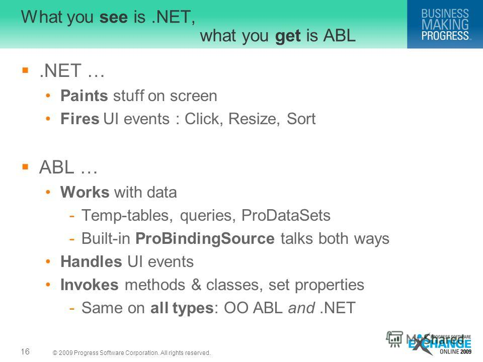 © 2009 Progress Software Corporation. All rights reserved. What you see is.NET, what you get is ABL.NET … Paints stuff on screen Fires UI events : Click, Resize, Sort ABL … Works with data -Temp-tables, queries, ProDataSets -Built-in ProBindingSource