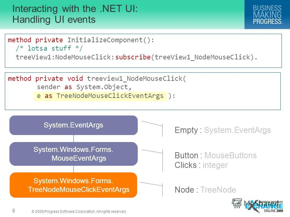 © 2009 Progress Software Corporation. All rights reserved. Interacting with the.NET UI: Handling UI events 8 method private InitializeComponent(): /* lotsa stuff */ treeView1:NodeMouseClick:subscribe(treeView1_NodeMouseClick). method private void tre