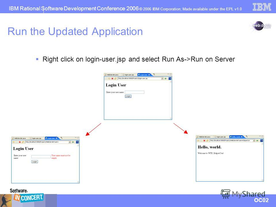 IBM Rational Software Development Conference 2006 © 2006 IBM Corporation; Made available under the EPL v1.0 OC02 Run the Updated Application Right click on login-user.jsp and select Run As->Run on Server