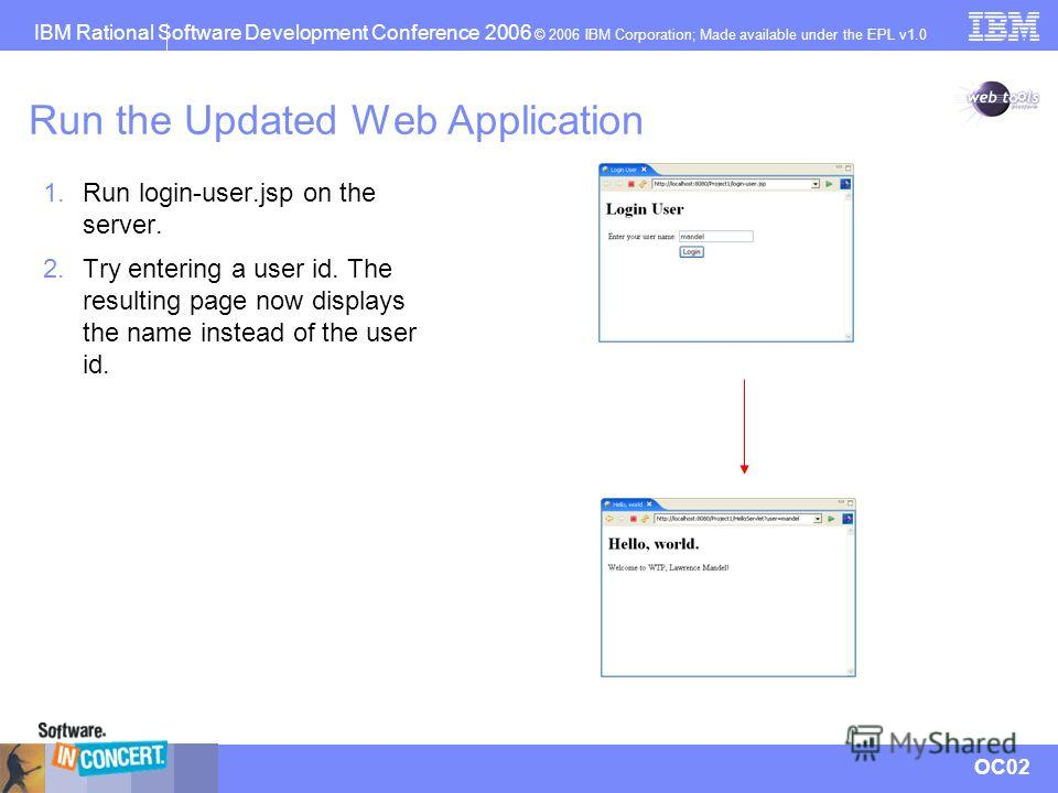 IBM Rational Software Development Conference 2006 © 2006 IBM Corporation; Made available under the EPL v1.0 OC02 Run the Updated Web Application 1. Run login-user.jsp on the server. 2. Try entering a user id. The resulting page now displays the name