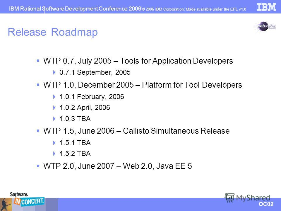 IBM Rational Software Development Conference 2006 © 2006 IBM Corporation; Made available under the EPL v1.0 OC02 Release Roadmap WTP 0.7, July 2005 – Tools for Application Developers 0.7.1 September, 2005 WTP 1.0, December 2005 – Platform for Tool De