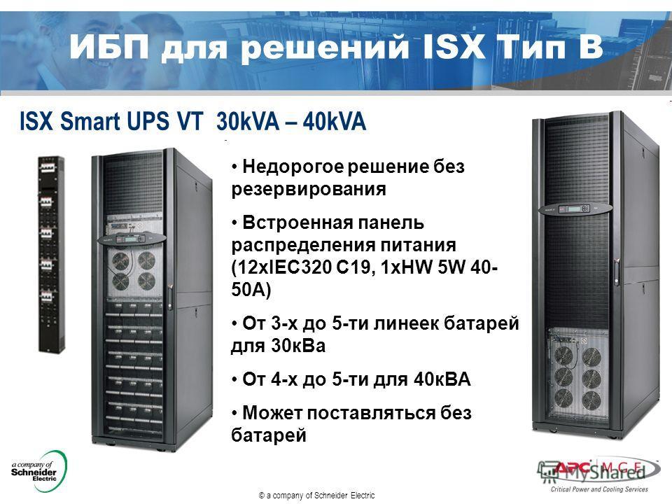 © a company of Schneider Electric ИБП для решений ISX Тип B ISX Smart UPS VT 30kVA – 40kVA Недорогое решение без резервирования Встроенная панель распределения питания (12xIEC320 C19, 1xHW 5W 40- 50A) От 3-х до 5-ти линеек батарей для 30 к Ва От 4-х