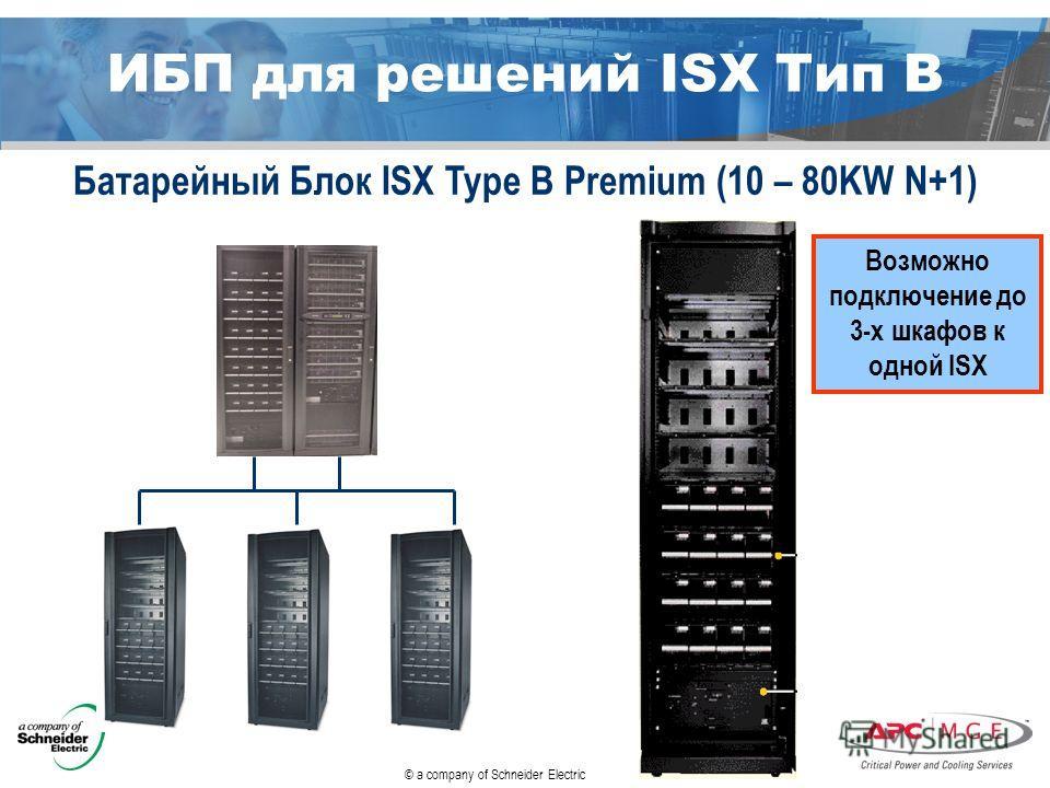 © a company of Schneider Electric Возможно подключение до 3-х шкафов к одной ISX Батарейный Блок ISX Type B Premium (10 – 80KW N+1) ИБП для решений ISX Тип B