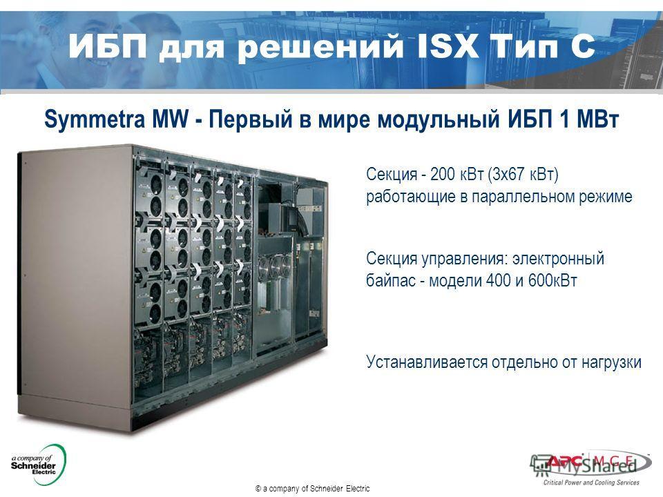 © a company of Schneider Electric ИБП для решений ISX Тип С Symmetra MW - Первый в мире модульный ИБП 1 МВт Секция - 200 к Вт (3 х 67 к Вт) работающие в параллельном режиме Секция управления: электронный байпас - модели 400 и 600 к Вт Устанавливается