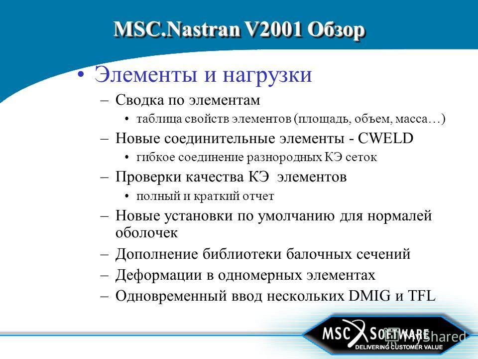 MSC.Nastran V2001 Обзор Элементы и нагрузки –Сводка по элементам таблица свойств элементов (площадь, объем, масса…) –Новые соединительные элементы - CWELD гибкое соединение разнородных КЭ сеток –Проверки качества КЭ элементов полный и краткий отчет –