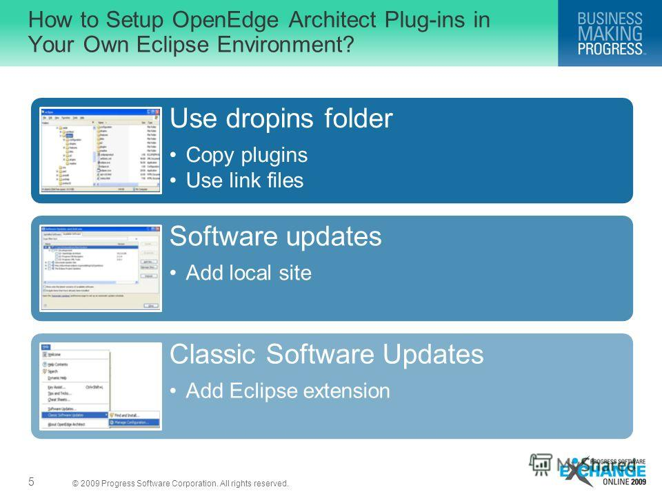 © 2009 Progress Software Corporation. All rights reserved. How to Setup OpenEdge Architect Plug-ins in Your Own Eclipse Environment? 5