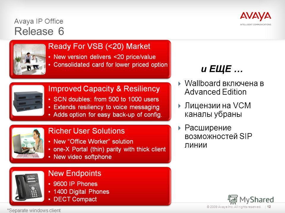 © 2009 Avaya Inc. All rights reserved.12 *Separate windows client Avaya IP Office Release 6 и ЕЩЕ … Wallboard включена в Advanced Edition Лицензии на VCM каналы убраны Расширение возможностей SIP линии