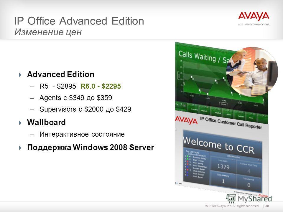 © 2009 Avaya Inc. All rights reserved.30 IP Office Advanced Edition Изменение цен Advanced Edition – R5 - $2895 R6.0 - $2295 – Agents с $349 до $359 – Supervisors с $2000 до $429 Wallboard – Интерактивное состояние Поддержка Windows 2008 Server