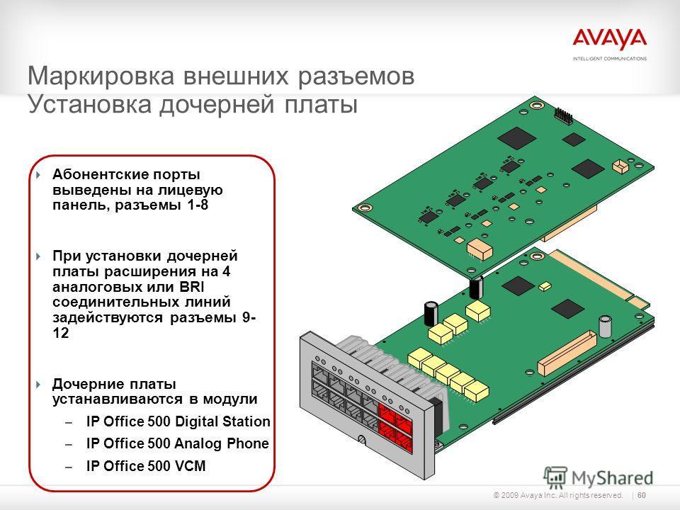 © 2009 Avaya Inc. All rights reserved.60 Абонентские порты выведены на лицевую панель, разъемы 1-8 При установки дочерней платы расширения на 4 аналоговых или BRI соединительных линий задействуются разъемы 9- 12 Дочерние платы устанавливаются в модул