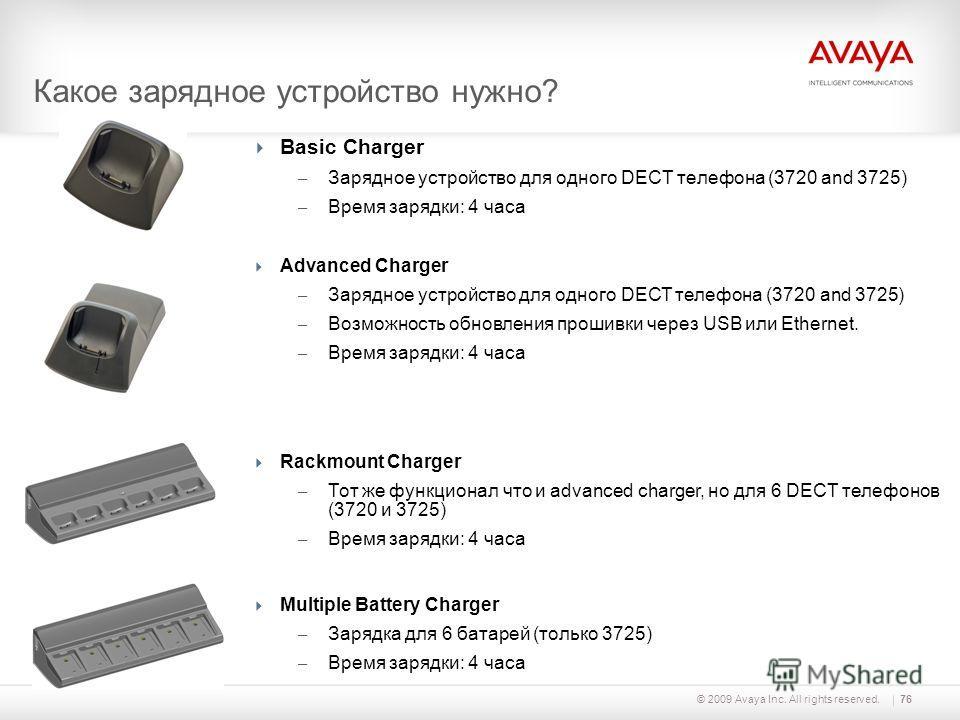 © 2009 Avaya Inc. All rights reserved.76 Какое зарядное устройство нужно? Basic Charger – Зарядное устройство для одного DECT телефона (3720 and 3725) – Время зарядки: 4 часа Advanced Charger – Зарядное устройство для одного DECT телефона (3720 and 3