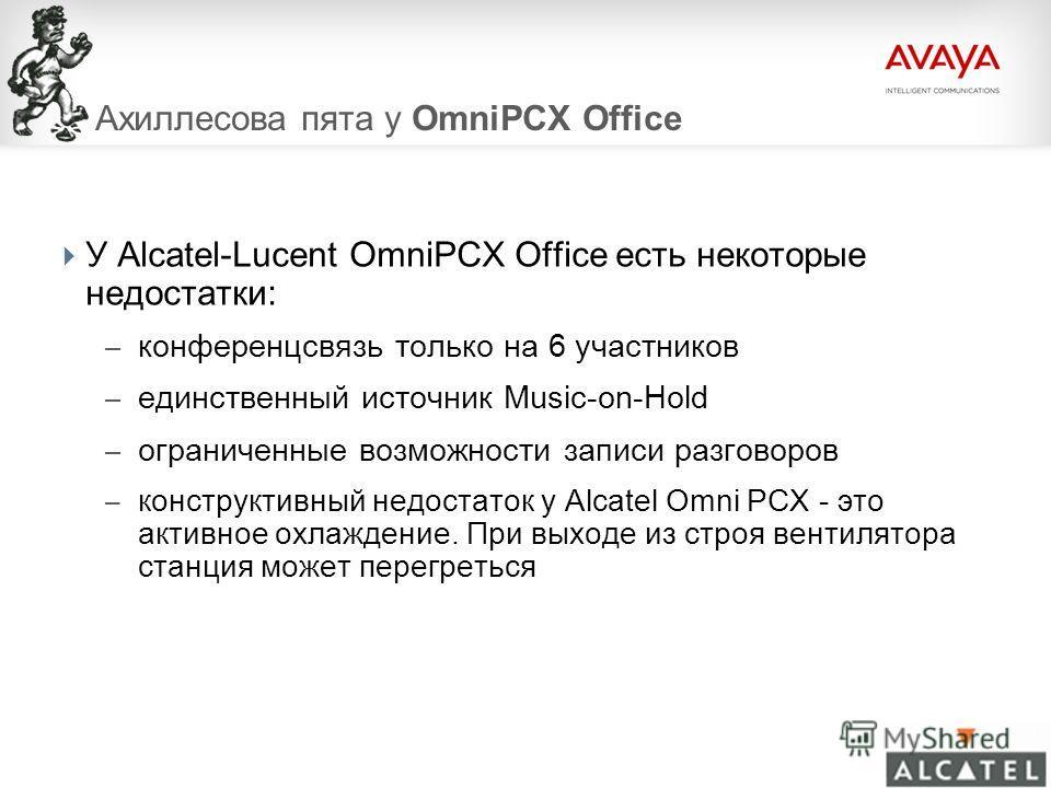 © 2009 Avaya Inc. All rights reserved.99 Ахиллесова пята у OmniPCX Office У Alcatel-Lucent OmniPCX Office есть некоторые недостатки: – конференцсвязь только на 6 участников – единственный источник Music-on-Hold – ограниченные возможности записи разго