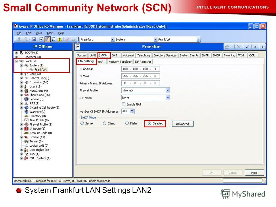 Small Community Network (SCN) System Frankfurt LAN Settings LAN2