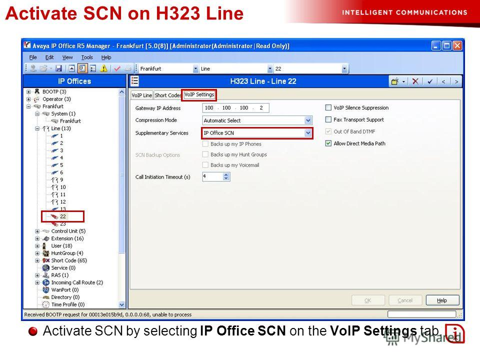 Activate SCN on H323 Line Activate SCN by selecting IP Office SCN on the VoIP Settings tab.